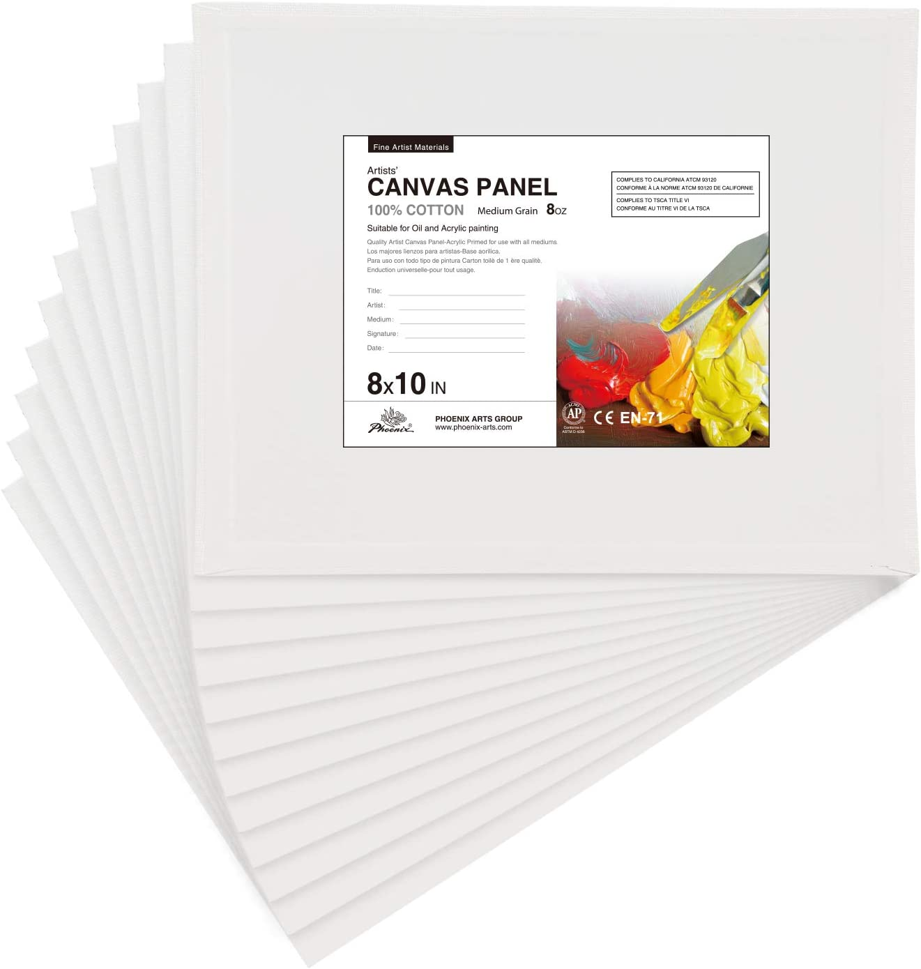"""PHOENIX White Blank Cotton Stretched Canvas Artist Painting 10 Pack 8/""""x10/"""""""