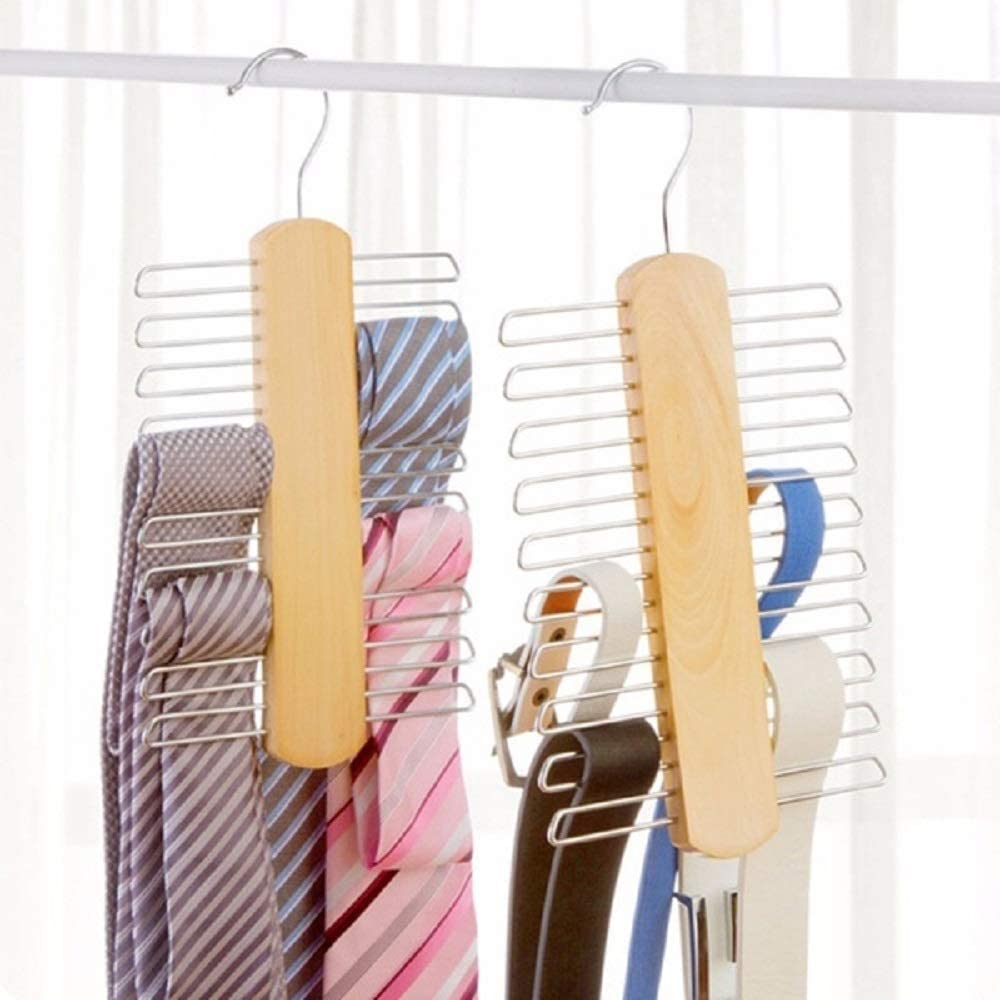 Beige 2-Pack Natural Wooden Tie Hanger Multifunctional Accessories Hangers for Ties and Belts Close End Teeth Anti-Slip Hold up to 20 pcs