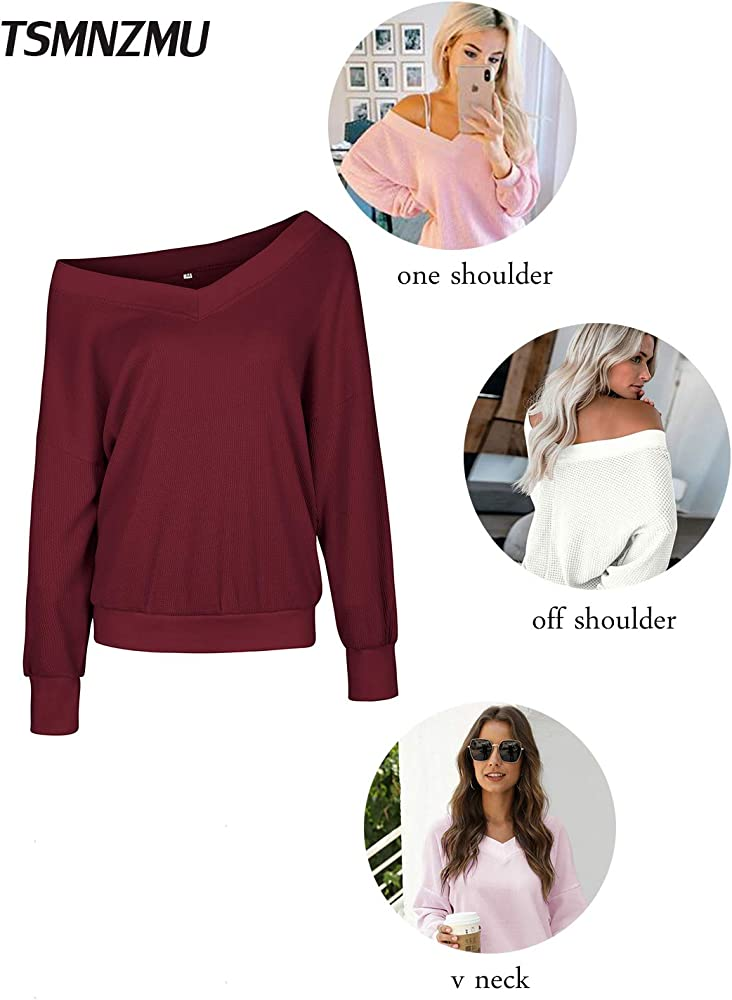 Womens One Shoulder Long Sleve Sweater Pullover Ladies Tops Knit Blouse Jumpers