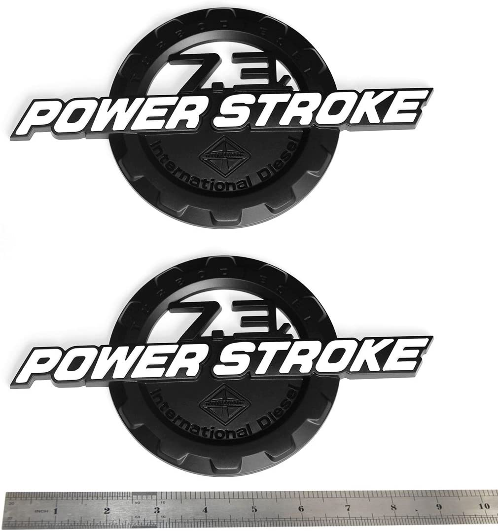 4pcs OEM 7.3L Powerstroke Emblem 7.3 L POWER STROKE Turbo Side Badge 3D Replacement for F250 F350 F450 Black White