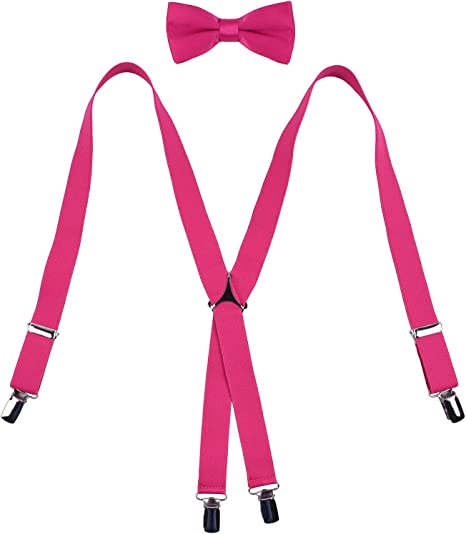 WDSKY Boys/' Bow Tie Suspenders Set Adjustable for Party Purple w// White