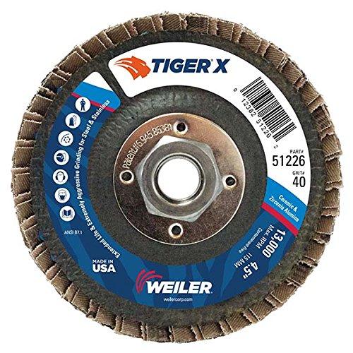 Weiler 51226 Tiger X Flap Disc, Ceramic and Zirconia Alumina, Flat, Phenolic Backing, 40 Grit, 4-1/2