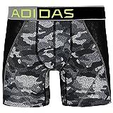 adidas Men's Climacool Mesh Single Boxer Brief Underwear, Grey Prime Camo/Black/Semi Solar Slime, X-Large