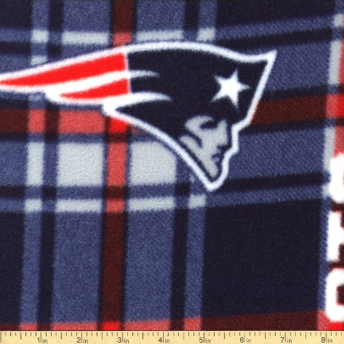 New England Hobby (NFL New England Patriots Plaid Polyester Fleece Fabric, Navy Blue & Red - Sold By the)