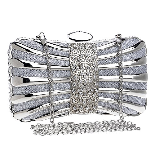 Evening YUEER Metal Ladies Bag Clutch Bow Evening Bag Banquet Chain Shoulder Bag Bag Silver Red xtYIrFqYw
