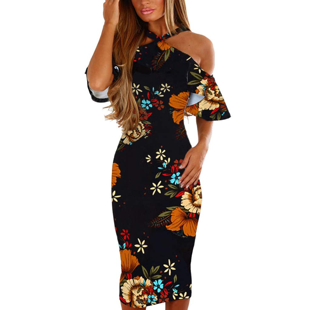Women Dress Casual Floral Print Sleeveless Backless Princess Halter Neck Vintage Ruffled Beach Maxi Dress for Girl(Multicolor,XXXL) by Quelife