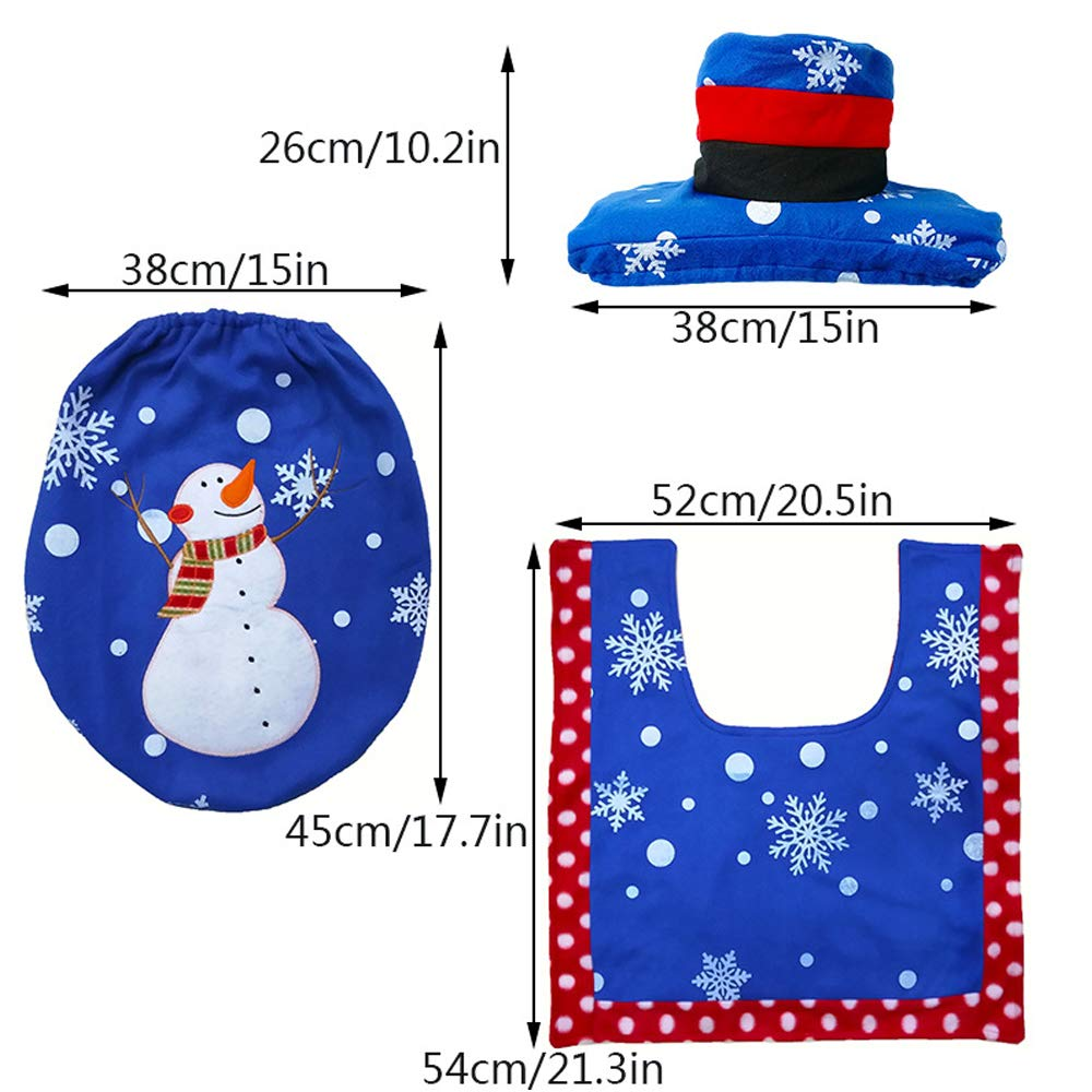 red 4 pcs Christmas Snowman Toilet Set and Santa Rug Set Christmas Decorations Bathroom