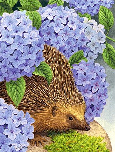 Caroline's Treasures ASA2001GF Hedgehog & Hydrangea Garden Size Flag, Small, Multicolor