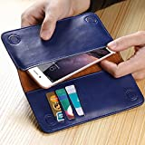 FLOVEME Genuine Leather Wallet Purse Universal Case For iPhone 7 6 6s Plus for Galaxy S7 S6 with Card Slot Full Protective Cover (Navy)