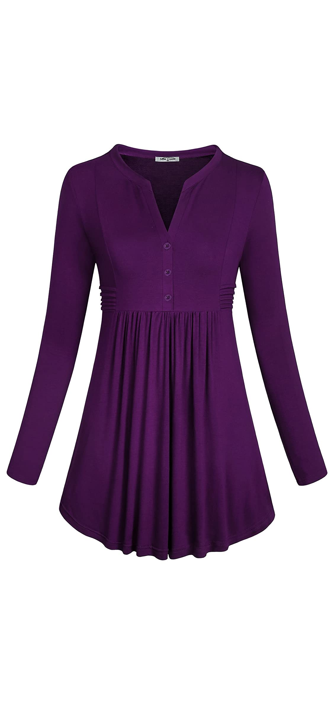 Women's Long Sleeve Mandarin Collar Shirt Pleated Tops