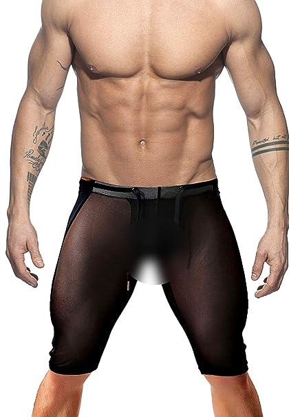 f21bcef3ca Amazon.com: Minaso Men's Fitness Mesh Shorts Yoga Capris See Through ...