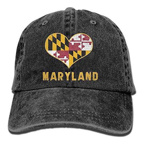 HHNLB Maryland State Flag Vintage Jeans Baseball Cap For Men And ()