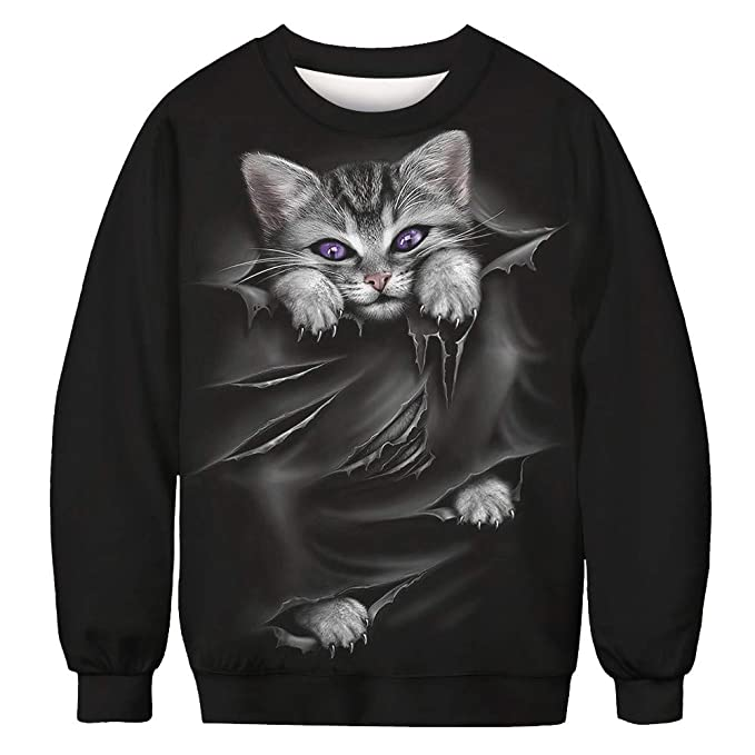 WM & MW Novelty Sweatshirt for Men Women Funny Graphic 3D Cat Print Pullover Tops Long