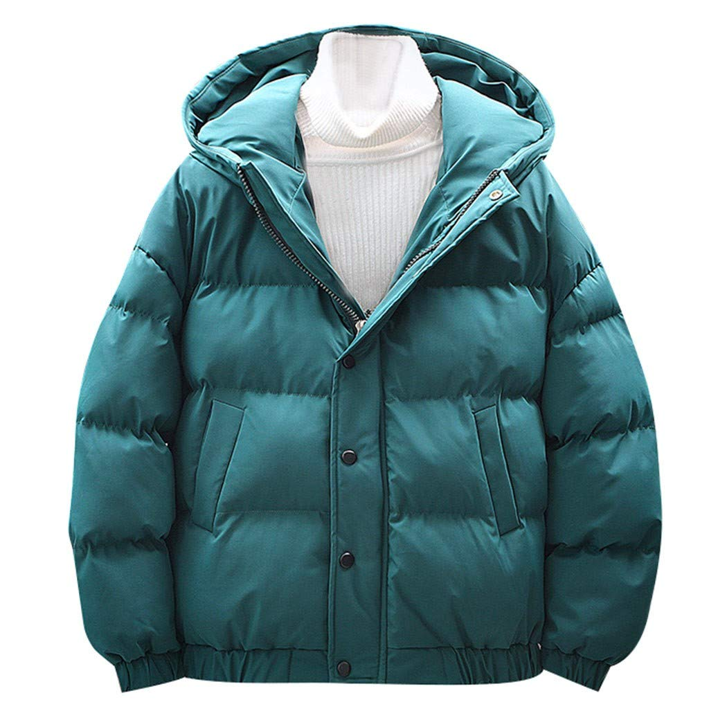 Allywit-Mens New Winter Fashion Light Down Warm Parka Cotton-Padded Puffer Down Jacket Solid Color Coat Plus Size Green by Allywit-Mens