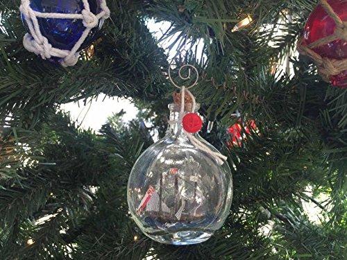 Hampton Nautical Santa Maria Model Ship in a Glass Bottle Christmas Ornament, 4