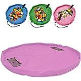 おもちゃ収納袋 玩具/ブロックのお片づけ 直径140cm 収納マット お出かけに便利 多用途 お片付け簡単 超大防水 (ピンク)