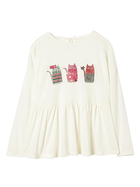 VERTBAUDET Camiseta Niña Estampado Gatos Blanco Claro Liso con Adorno 10A: Amazon.es: Ropa y accesorios
