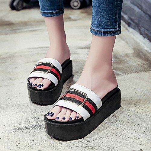 RUGAI-UE Las mujeres Zapatillas de verano zapatillas inferior grueso plana High-Heeled moda calzado antideslizante White