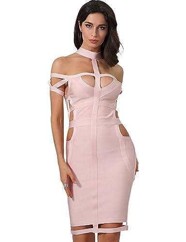Adyce Bandage-Dress-Sexy-Vestito Donna benda vestito rosa con chocker chic hallow tagliato bodycon m...