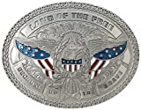 Nocona Men's Land Of The Free Eagle Buckle, silver, One Size