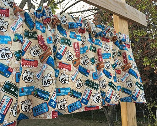 Route 66 State License Plates Highway Road Signs on Brown Travel Map Handcrafted Custom Sewn Curtain Valance Curtain Window Topper
