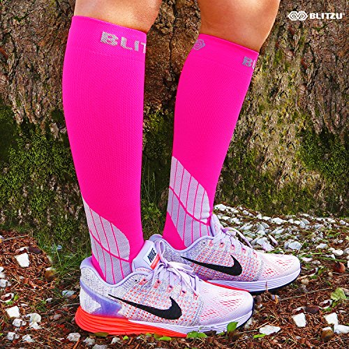 BLITZU Compression Socks 15-20mmHg for Men & Women BEST Recovery Performance Stockings for Running, Medical, Athletic, Edema, Diabetic, Varicose Veins, Travel, Pregnancy, Relief Shin Splint S/M Pink by BLITZU (Image #4)