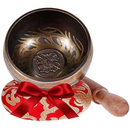 Rovtop Cuenco Tibetano a Mano para la Meditación Chakra Healing, Oración, Yoga, Budismo y Sanación a través de la Vibración Cuenco, Incluye un Cojín y ...