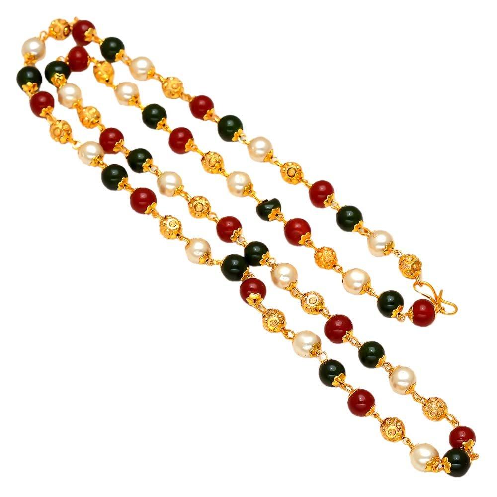 Chain 24 Inch Handmade Red White Black Pearl Polki One Gram Gold Gokhru Neckl... Jewar Mandi 7381
