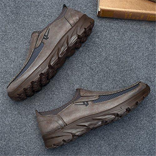 de Hombre Zapatos Cuero de Planos Zapatos de de Gris de Zapatos Hombres Mocasines Mocasines Los Para Zapatos Gracosy Mocasines Casual Negocios Conducción q6XOwEcIx