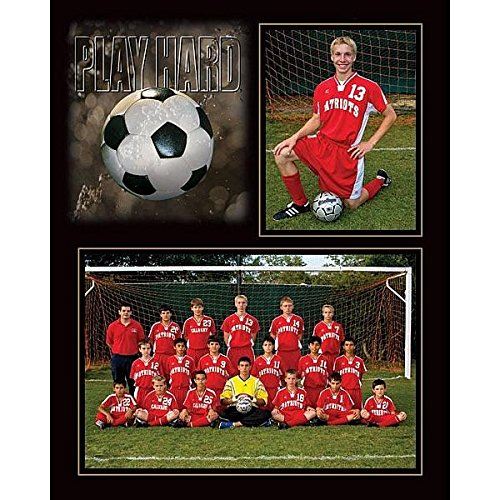 Sports Photo Frame (PLAY HARD SOCCER 7x5/3.50x5 MEMORY MATES cardstock double photo frame sold in 10's - 5x7)