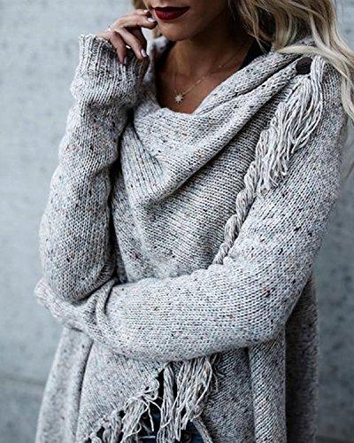 Maniche Minetom Asimmetrica Grigio Nappe Donna Maglia Maglione Scialle Lunghe Elegante Casual Autunno Sweater Maglietta Inverno xqAHrwXq