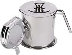 Hoxierence 1.7 Quart Bacon Grease Container with Strainer, Stainless Steel Large Oil Storage Pot with Cover, Mesh Screen and Base, Kitchen Grease Keeper & Can for Frying Oil (1.6L, Silver)