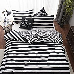 3 piece Reversible Duvet Cover Sets with Zipper Soft Microfiber Design by Paukin Bedding ,Queen Size , Stripe