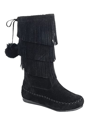 Amazon.com | Toddlers Girl Limma Moccasin 3-Layer Fringe Beaded Tribal Indian Winter Faux Suede Boot Shoes | Boots