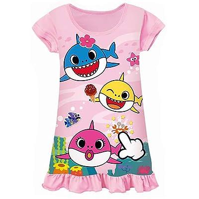 AOVCLKID Toddler Girls Baby Princess Pajamas Shark Cartoon Print Nightgown Dress: Clothing [5Bkhe0301458]