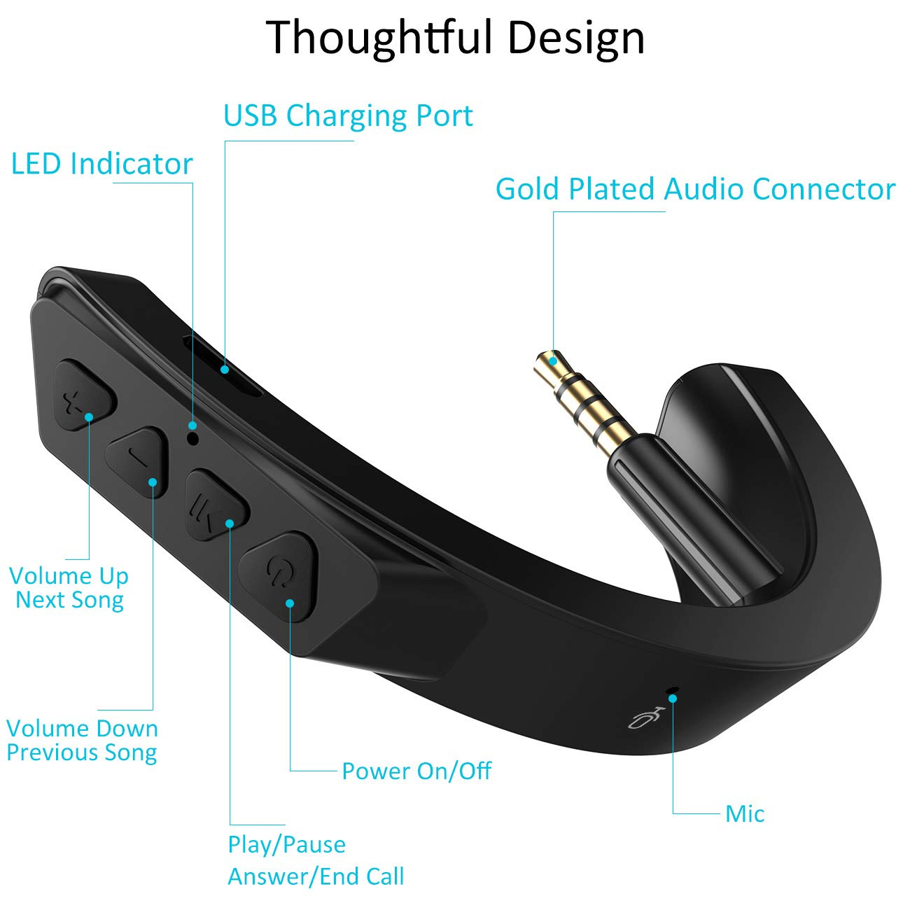 YOCOWOCO Adaptador Bluetooth inal/ámbrico para Auriculares Bose QuietComfort QC 25 con Control de Volumen y micr/ófono Black+Mic