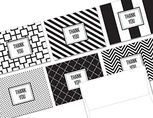 Modern Black & White Thank You - 36 Note Cards - 6 Designs - Blank Cards - White Envelopes Included ()