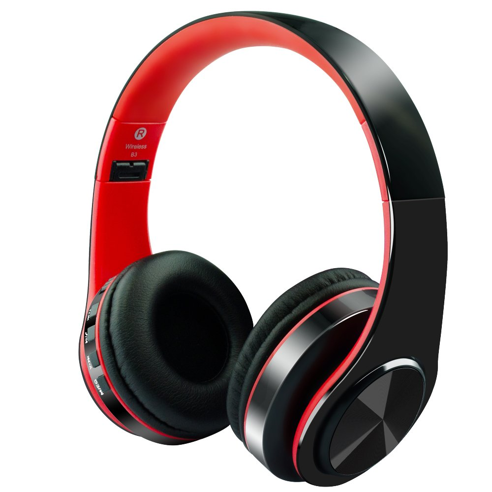 Alitoo Wireless Bluetooth Headphones Noise Cancelling Over-Ear Headset with Mic,Hi-Fi Stereo Foldable Built-in Wired Mode Multifunction for Laptop PC Tablet Computer Phone TV(Black&Red)