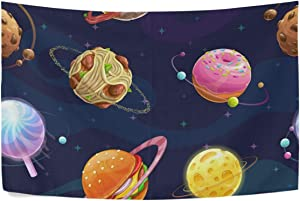 SALLYLOU Cartoon Fantasy Food Planets Wall Tapestry, Wall Decorations for Living Room Bohemian Tapestries 100% Polyester Fiber Multifunction Tapestry