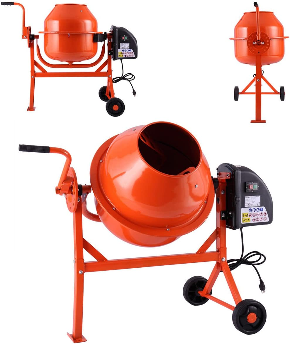 JAXPETY Portable Electric Concrete Cement Mixers 1/2HP 5 Cubic