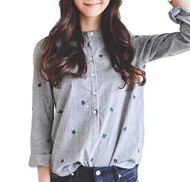 d5cd5f77df8244 Elonglin レディース ブラウス ワイシャツ 長袖 シャツ Yシャツ かわいい プリント ボタン 無地 通勤 女性 魅力 カジュアル