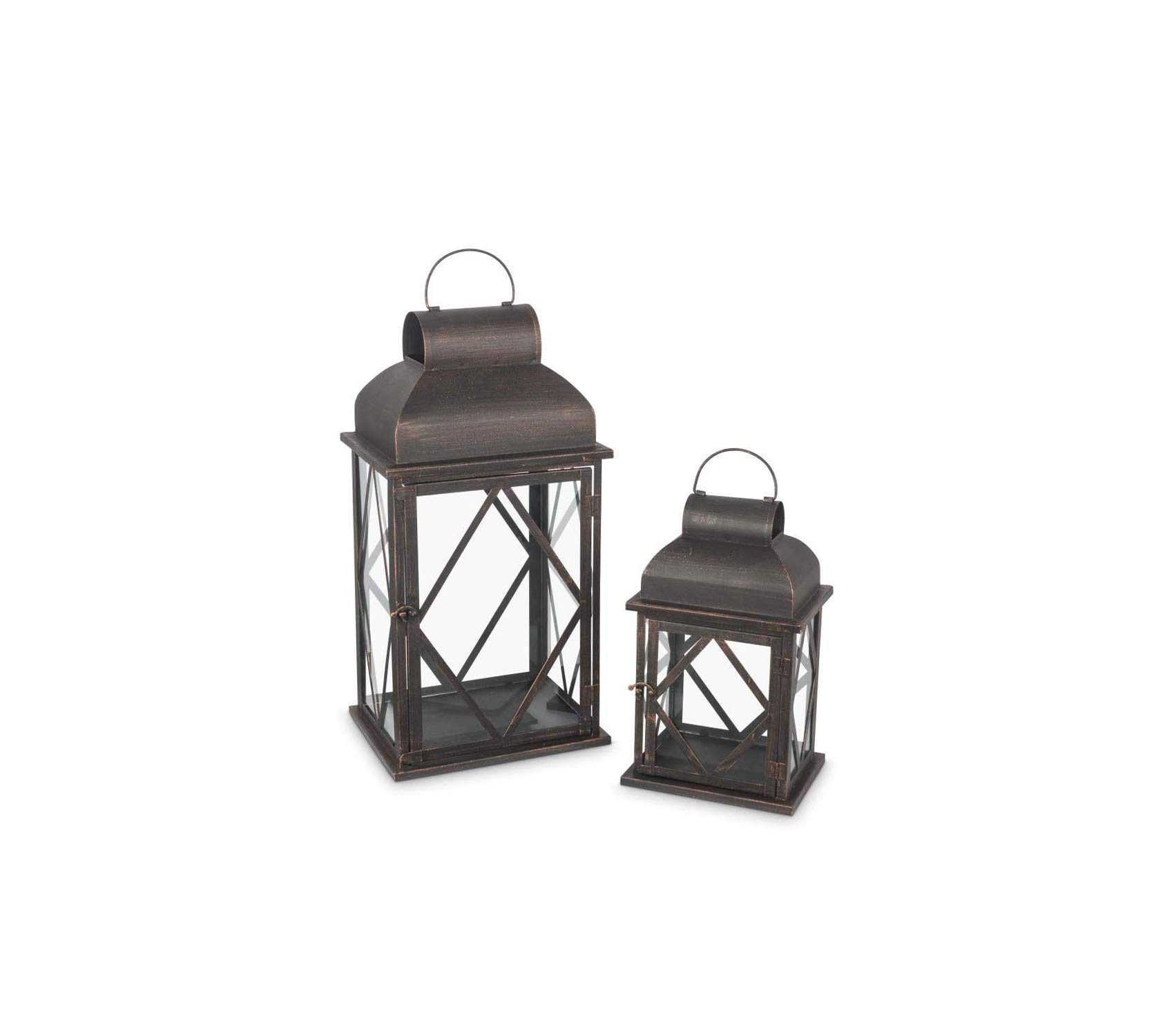 Bronze Metal Lantern Christmas 12.5InL x 8.5InW x 21InH Brown Decor Comfy Living Furniture Deluxe Premium Collection