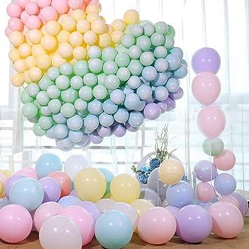 RAINBEAN 100pcs 10 Pulgadas Macaron Pastel Color Latex Balloon para la Fiesta de cumpleaños Decoración Baby Shower Suministros Ceremonia de Boda Globo ...