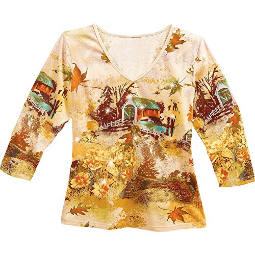Women's Sequined Country Autumn 3/4 Sleeves Top, Yellow, Large (Sequined 3/4 Sleeve Top)