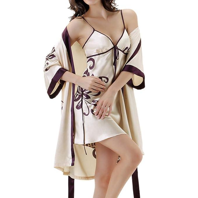 MERRYHE Womens Nightdress Seda Kimono Sexy Establece Camisón Para Damas Pijamas Albornoces Batas Vestido De Novia Para Bañarse: Amazon.es: Ropa y accesorios
