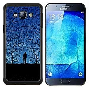 "Be-Star Único Patrón Plástico Duro Fundas Cover Cubre Hard Case Cover Para Samsung Galaxy A8 / SM-A800 ( Blue Night Forrest"" )"