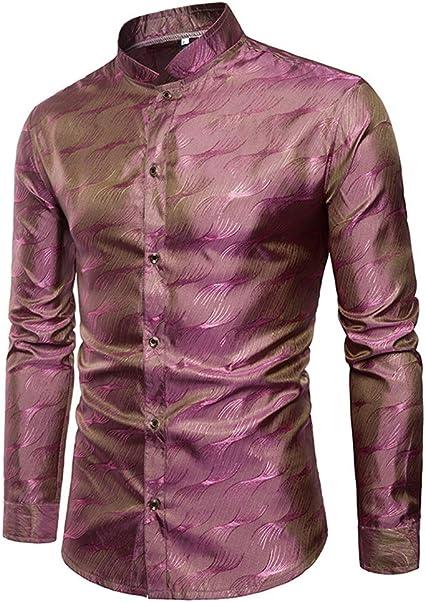Camisa de Hombre Tencel para Hombre patrón metálico Brillante ...