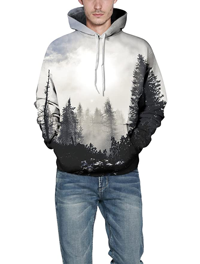 Misty Forest Digital Printing Hoodie, Keepforeverlove Fashion Long Sleeve Hoodie Sweatershirt at Amazon Womens Clothing store:
