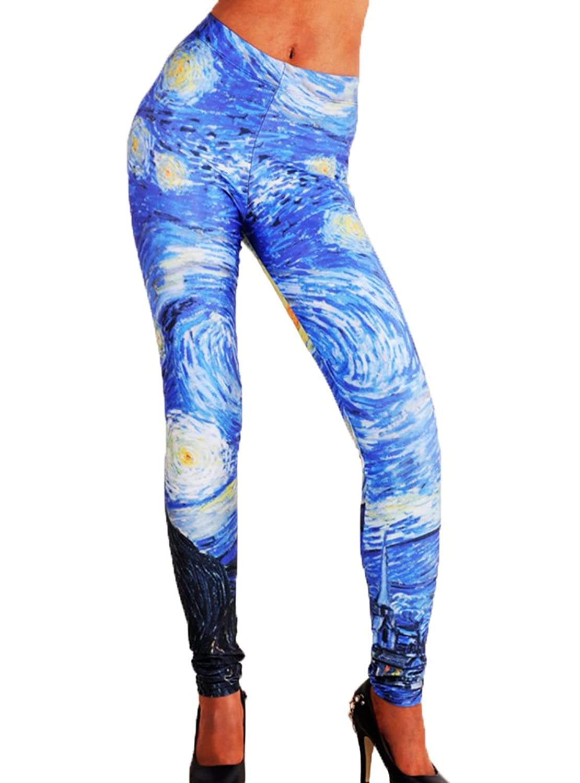 Womens Vincent Van Gogh Printed Leggings Starry Night Printed ...