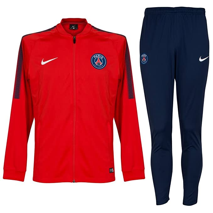 Boys Dry Paris Saint-Germain Squad Tracksuit RUSH RED/RUSH RED ...